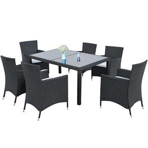 7 Piece Outdoor Garden Furniture Rattan Wicker Dining Set Glass Table and Chairs For Patio muebles jardin exterior