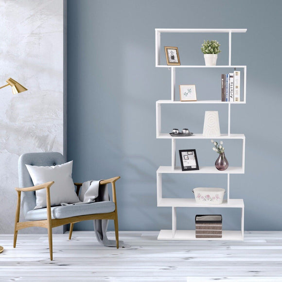 Giantex 6 Tier S-Shaped Bookcase Z-Shelf Style Storage Display Modern Bookshelf Home Furniture HW59445