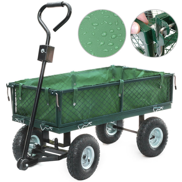 Panana Heavy Duty Large Garden Trolley Cart Truck 4 Wheel Transport Metal Steel Mesh Wheelbarrow Capacity 300kg