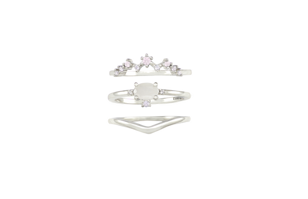 Silver ring stacking ring set with moonstone and opal pink nano