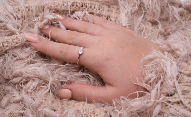 Jewellery hand model wearing 18k rose gold plated moonstone fresh water pearl ring