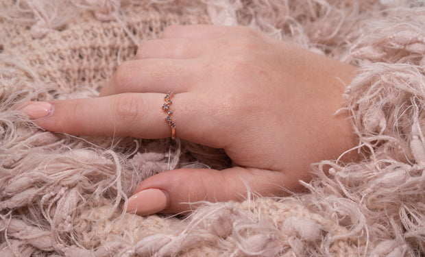 Jewellery hand model wearing Simple elegant morganite 18k rose gold plated ring