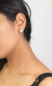 Fashion model wearing 18k Gold Plated Opal Stud Fashion Statement Earrings