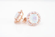 18k Rose Gold Plated White Opal Stud Fashion Earrings