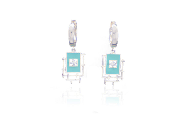 sterling silver 925, blue enamel, huggie earrings, cz floating stone, fashion earrings
