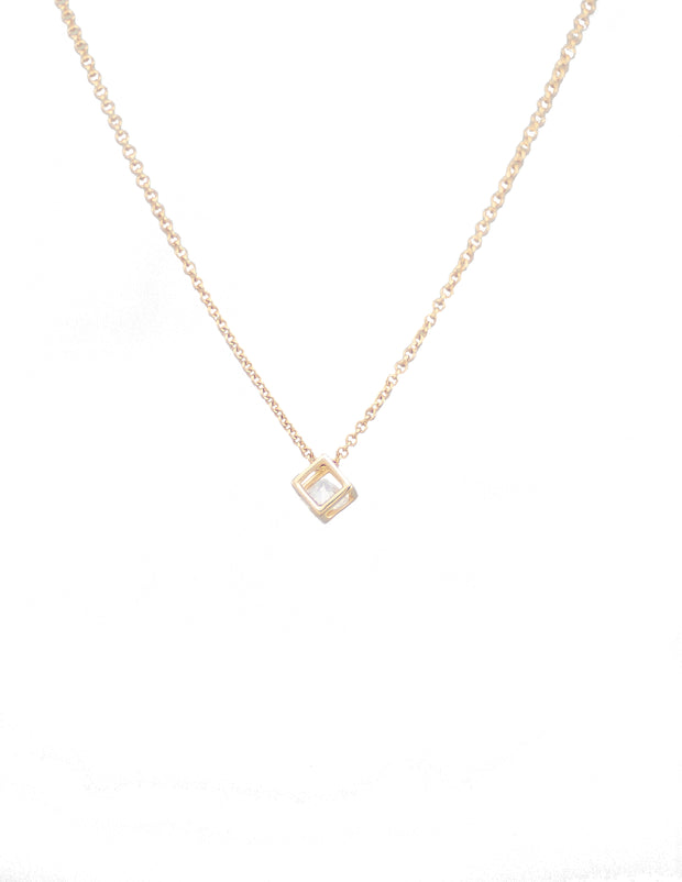 Gold necklace, cube pendant with CZ diamond shape stone, fashion necklace