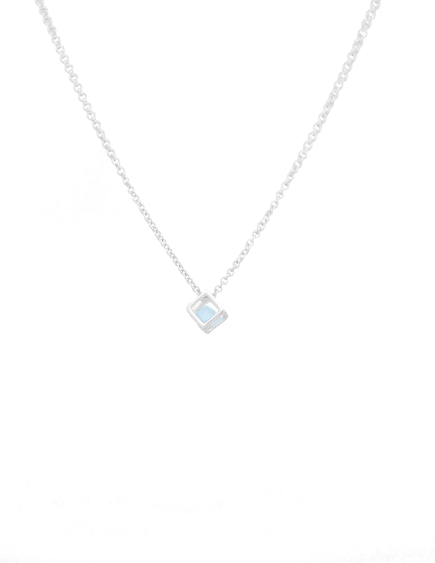 Silver necklace, cube pendant with aqua green diamond shaped simulant stone