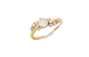 18k gold plated ring, moonstone centre with mini CZ