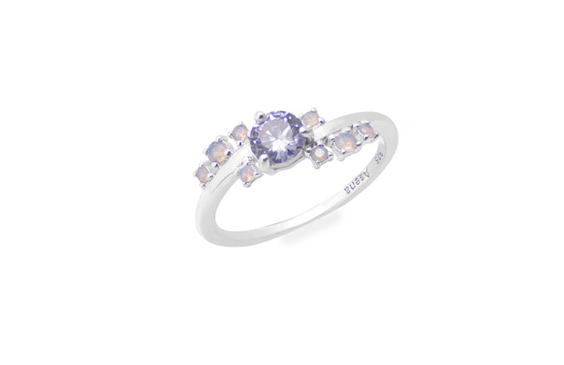 925 sterling silver ring with lavendar cz stone centre surrounded by cz nano stones