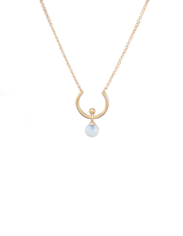 18k gold plated necklace with moonstone pendant. Crescent necklace.
