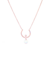 18k rose gold plated necklace with simulated opal pendant in crescent shape