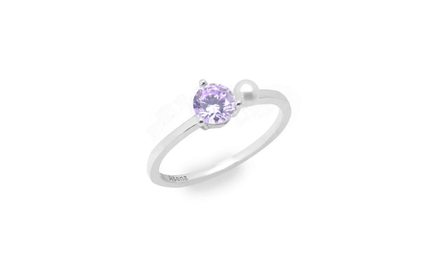 925 Sterling silver ring, lavender cubic zirconia, fresh water pearl, fashion ring