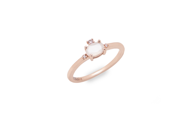18k rose gold plated ring with natural white moonstone centre surrounded by cz nano stones