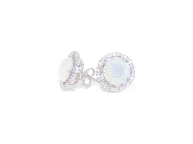 Sterling Silver fashion statement stud opal earrings