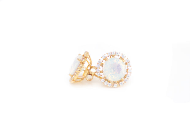 18k Gold Plated Opal Stud Fashion Statement Earrings