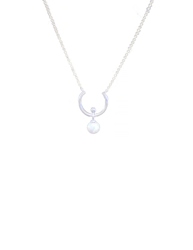 Sterling silver horseshoe necklace with simulated opal stone pendant