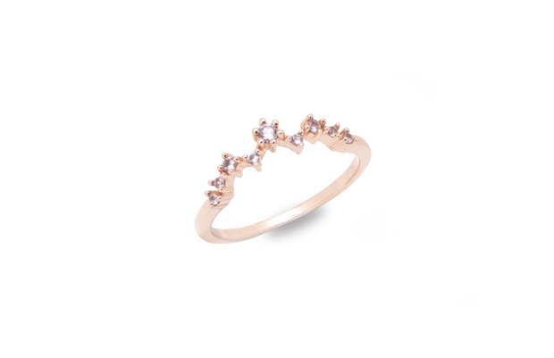 Simple elegant morganite 18k rose gold plated ring