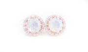 18k Rose Gold Plated White Opal Stud Fashion Statement Earrings