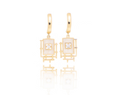 Gold huggie earring, Sterling silver 925, 18K Gold plated, white enamel, fashion earrings, cz floating stone