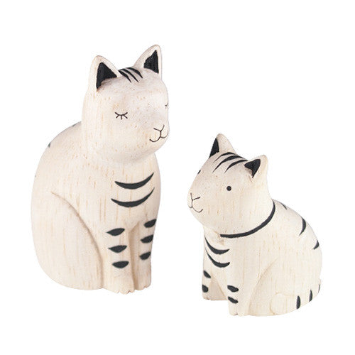 T-lab polepole animal Family Set Tabby Cat
