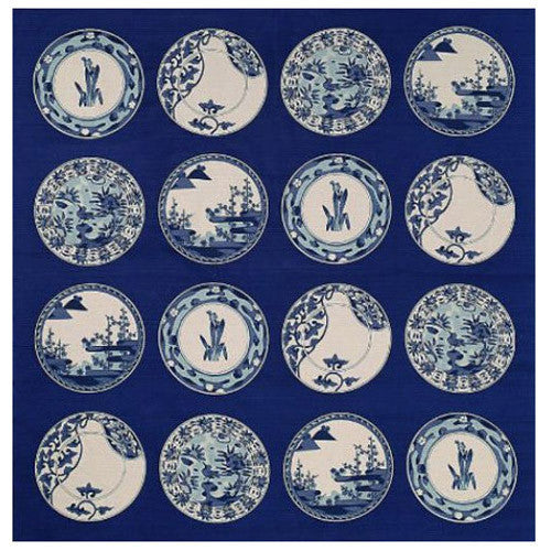 kyoohoo Cotton Furoshiki Imari Dishes Navy