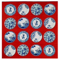 kyoohoo Cotton Furoshiki Imari Dishes Red