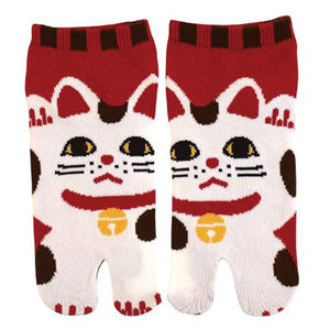 Tabi Socks Short type Red Lucky Cat kyoohoo