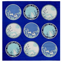 kyoohoo Cotton Furoshiki Small Size Imari Rabbit Dishes Navy