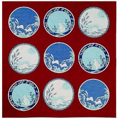 kyoohoo Cotton Furoshiki Small Size Imari Rabbit Dishes Red