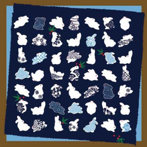 kyoohoo Cotton Furoshiki Small Size Rabbits pattern