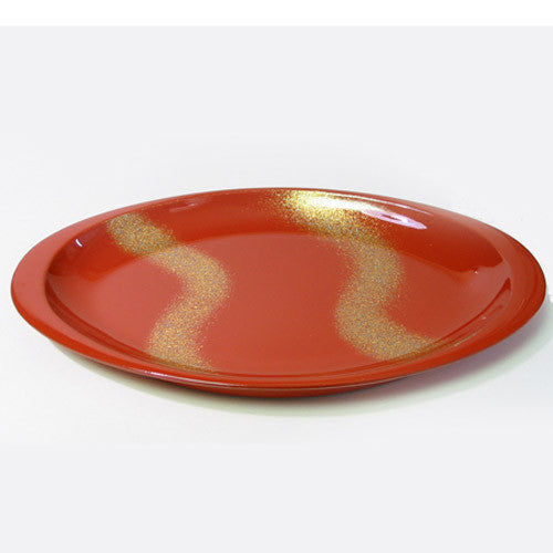 Kyoohoo Lacquer Ware Oval Plate Gold Flow Red