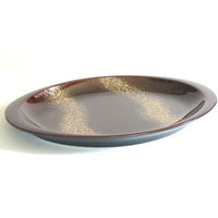 Kyoohoo Lacquer Ware Oval Plate Gold Flow Brown