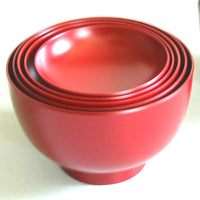 Kyoohoo Lacquer Ware Nested Five Bowls Red