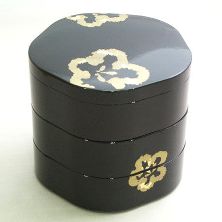 Kyoohoo Lacquer Ware Plum Shape Lunch Box Black