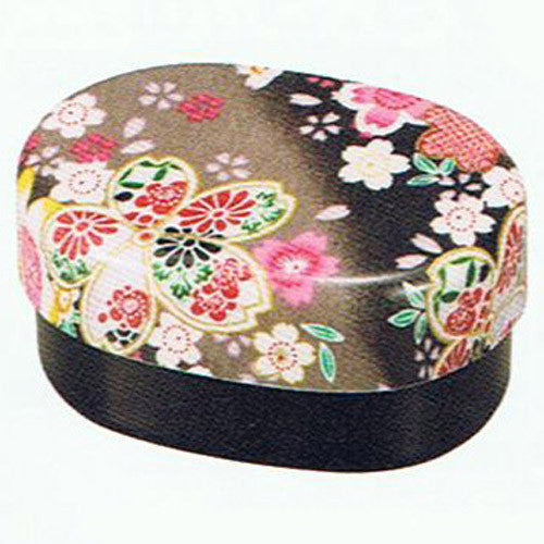 Kyoohoo Lacquer Ware Koban Lunch Box Sakura Black
