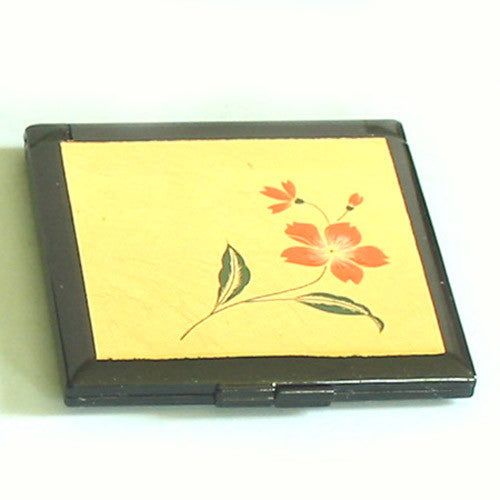 Kyoohoo Lacquer Ware Pocket Mirror Gold Flower