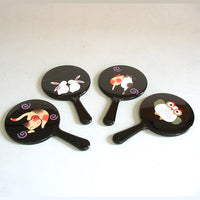 Kyoohoo Lacquer Ware Mini Miror Two Cat