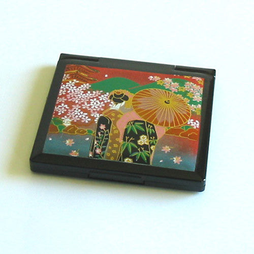 Kyoohoo Lacquer Ware Pocket Mirror Two Maiko