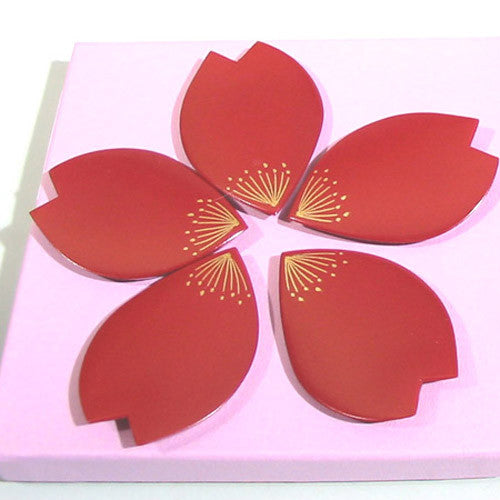 Kyoohoo Lacquer Ware Chop Stick Rest Flower Petal Red