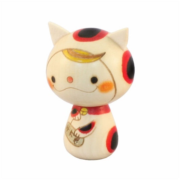 Kyoohoo Japanese Kokeshi Doll Lucky cat Girl (K12-4340G)