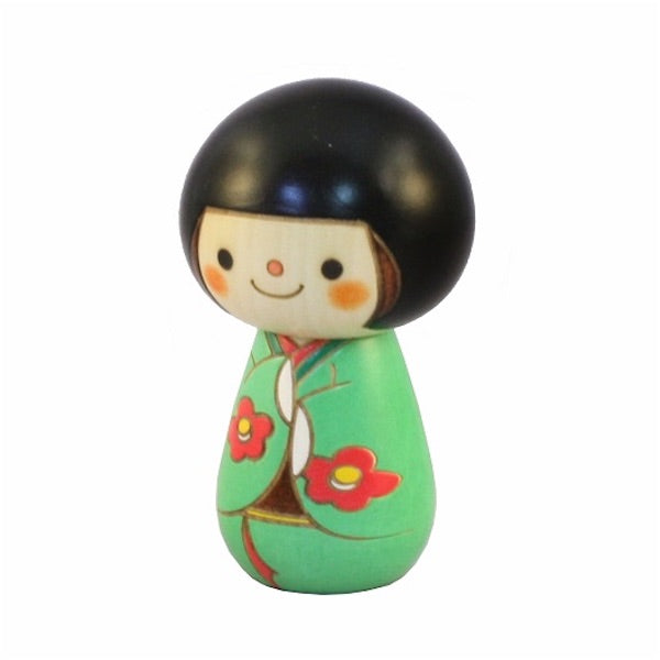 Kyoohoo Japanese Kokeshi Doll Short hair Green (K12-4341G)