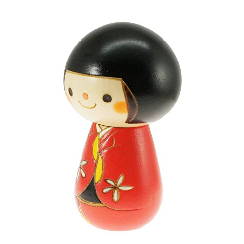 Kyoohoo Japanese Kokeshi Doll Short hair Red (K12-4341R)