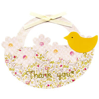 Greeting Life Cage a bonheur Thank You Card Flower basket ET-40