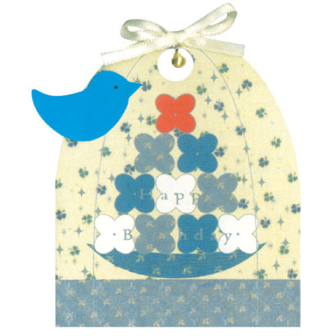 Greeting Life Cage a bonheur Birthday Card Blue ET-8