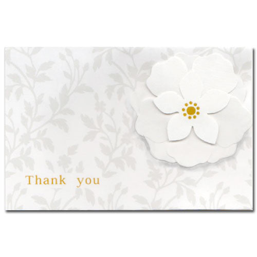 Greeting Life White Corsage Thank you Card Rosette HA-110