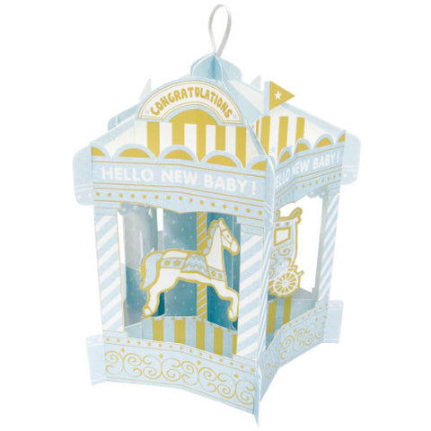 Greeting Life Merry-Go-Round Baby Card Blue HT-6