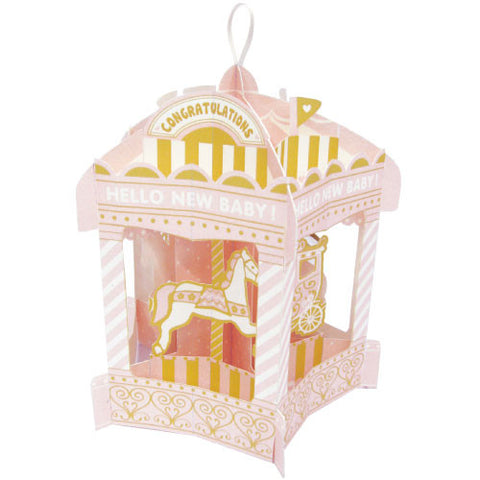 Greeting Life Merry-Go-Round Baby Card Pink HT-7