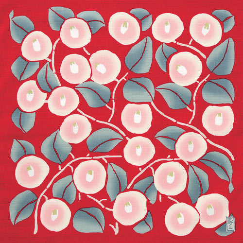 kyoohoo Cotton Furoshiki Small Size Camellia Red