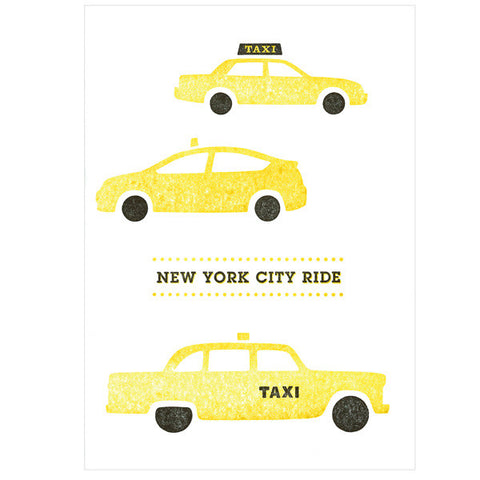 Tegami Letterpress Greeting Card NEW YORK CITY RIDE