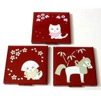 Kyoohoo Lacquer Ware Pocket Mirror Puppy